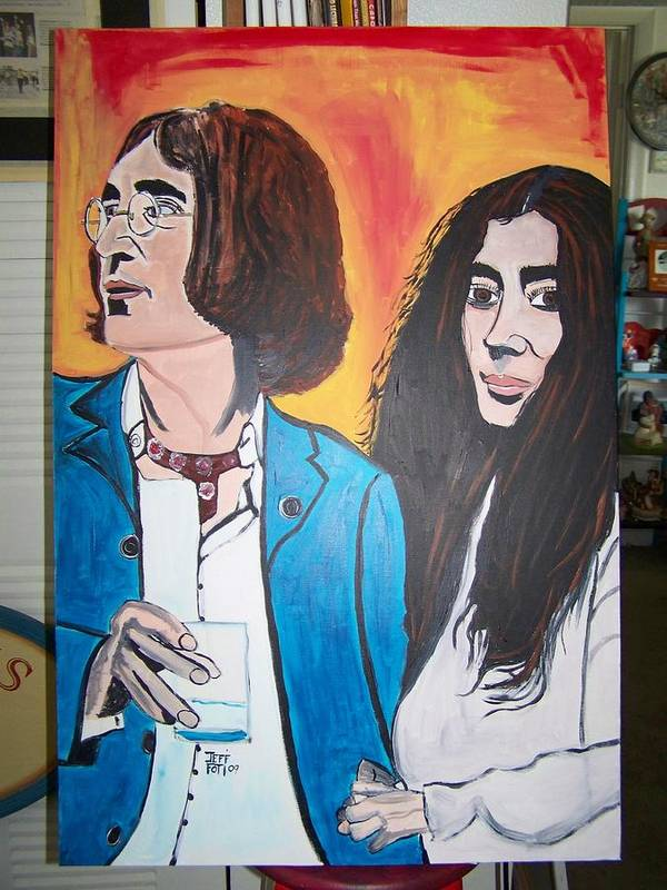 Paintings Of John Lennen Poster featuring the painting John And Yoko Ono by Jeffrey Foti