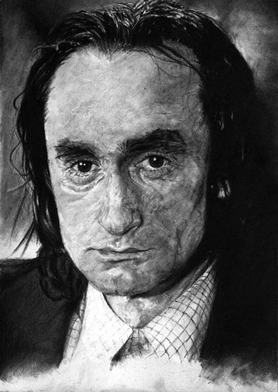 Portrait Man Men Charcoal Art Life Godfather Deer Hunter Dog Day Afternoon Gray Grey Tone John Actor Poster featuring the drawing John Cazale by Priscilla Vogelbacher