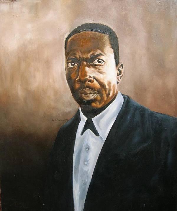 John Coltrane Jazz Portrait Poster featuring the painting John Coltrane by Martel Chapman