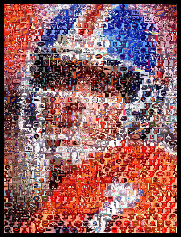 John Elway Poster featuring the mixed media John Elway Mosaic by Paul Van Scott