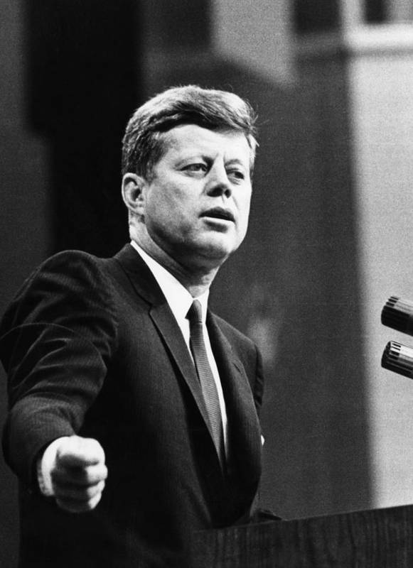 1960s Poster featuring the photograph John F. Kennedy, Urges The Senate by Everett