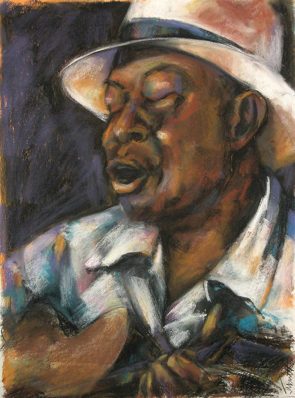 Portrait Poster featuring the painting John- In Honor of John Cephas by Jackie Merritt
