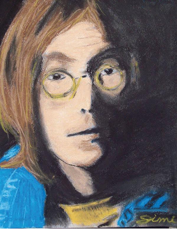 Miami Poster featuring the drawing John Lennon Pastel by Jimi Bush