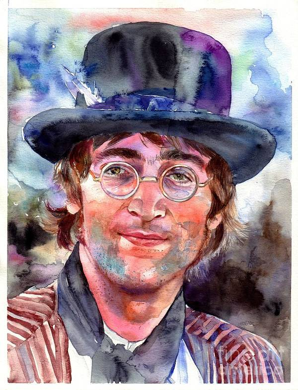 John Poster featuring the painting John Lennon portrait by Suzann Sines