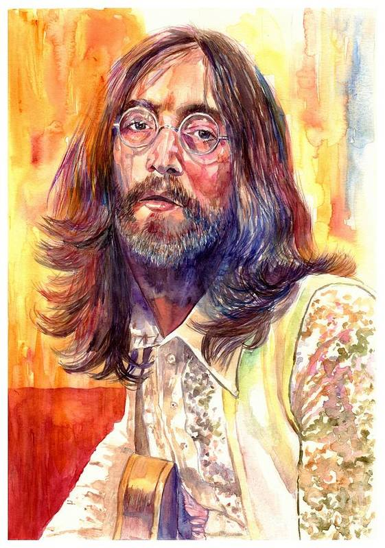 John Lennon Poster featuring the painting John Lennon watercolor by Suzann Sines