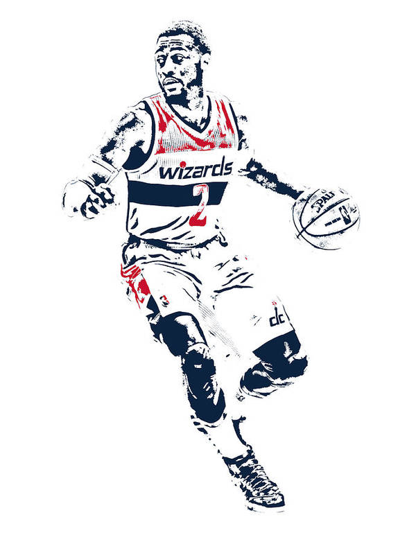 John Wall Poster featuring the mixed media John Wall Washington Wizards  Pixel Art 1 by Joe 02ac77623