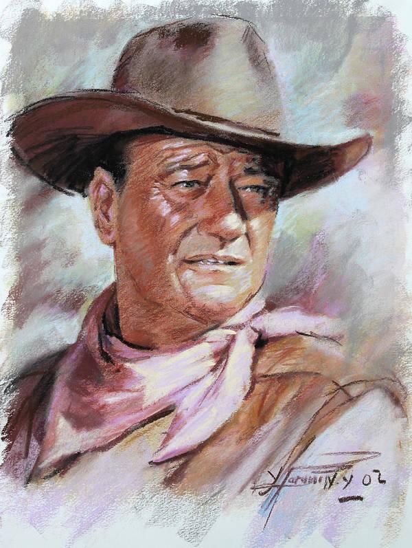 John Wayn Poster featuring the pastel John Wayn by Ylli Haruni