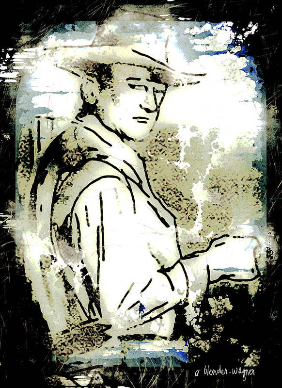 John Wayne Poster featuring the digital art John Wayne by Arline Wagner