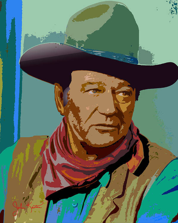 John Wayne Poster featuring the digital art John Wayne by John Keaton