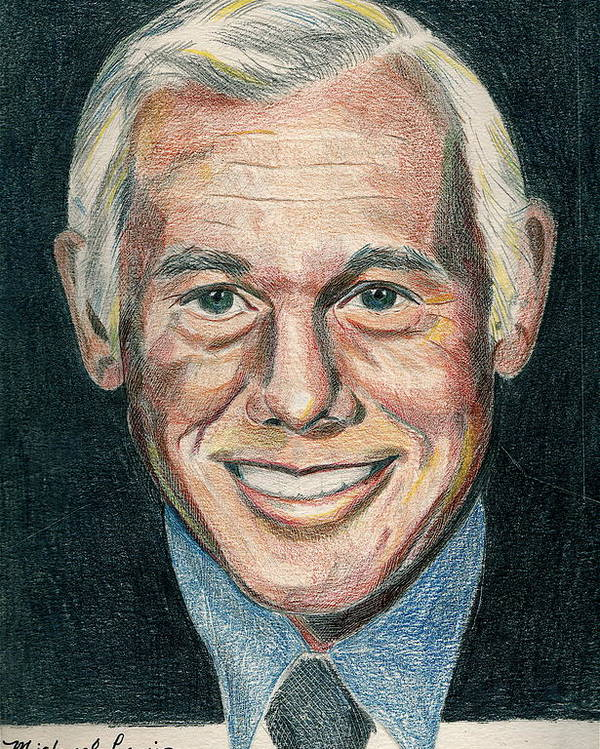 Portraiture Poster featuring the drawing Johnny Carson by Michael Lewis