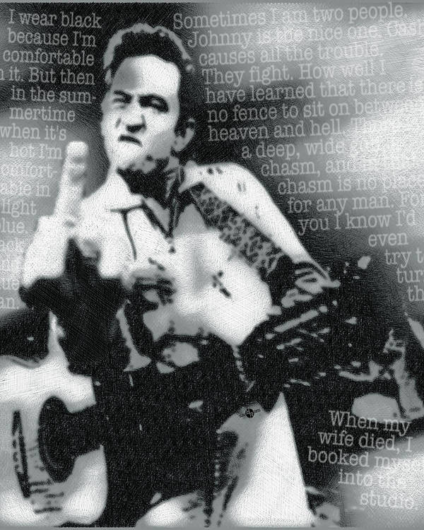 Johnny Cash Poster featuring the painting Johnny Cash Rebel Vertical by Tony Rubino