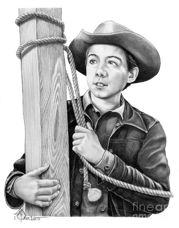 Pencil Poster featuring the drawing Johnny Crawford-Mark McCain by Murphy Elliott