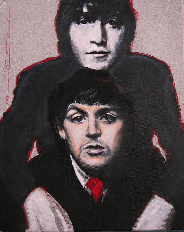 The Beatles Poster featuring the painting John's Ghost by Eric Dee