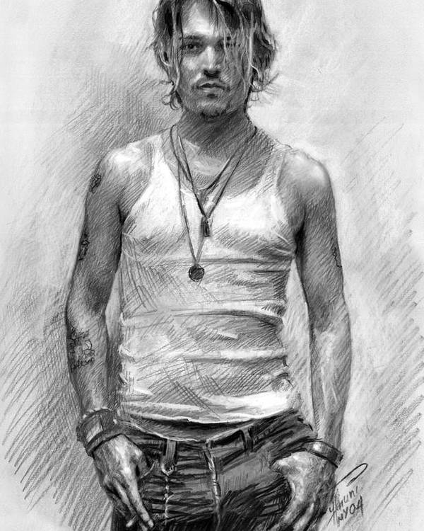 Johny Depp Poster featuring the drawing Johny Depp by Ylli Haruni