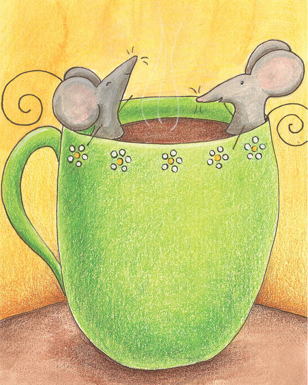 Mice Poster featuring the painting Join Me In A Cup Of Coffee by Christy Beckwith