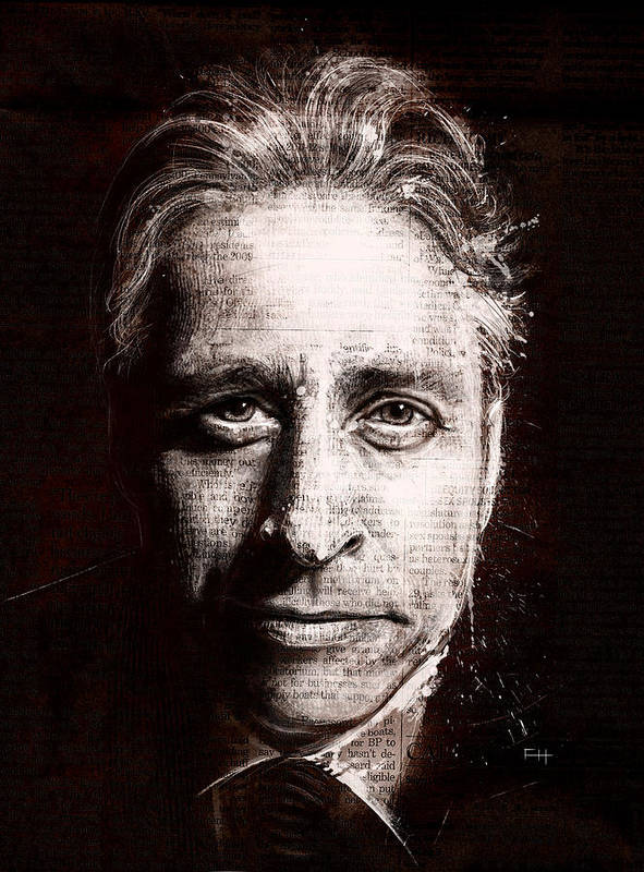 Comedy Poster featuring the painting Jon Stewart by Fay Helfer