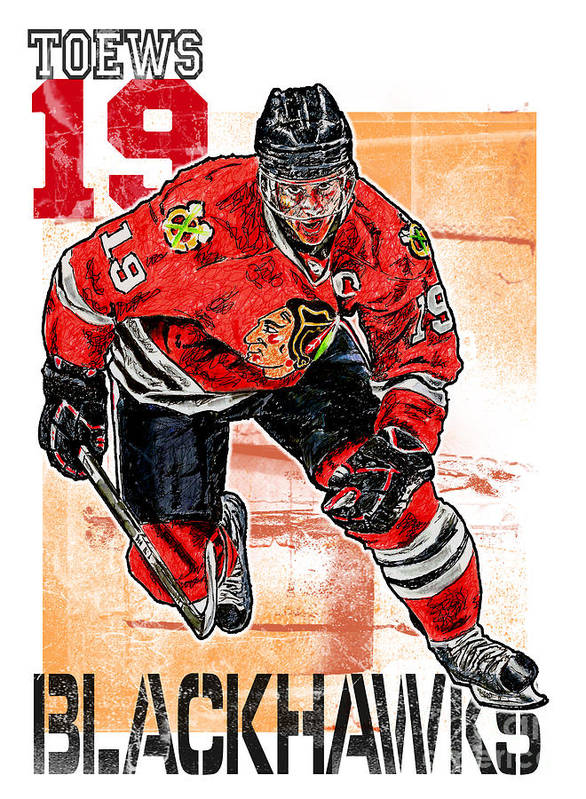 Ice Hockey Poster featuring the drawing Jonathan Toews by Maria Arango