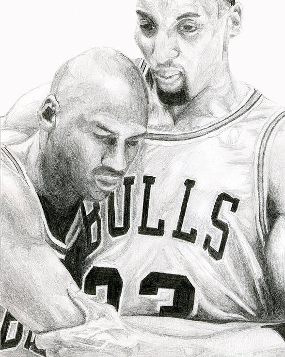 Michael Jordan Poster featuring the drawing Jordan Will To Win by Tamir Barkan