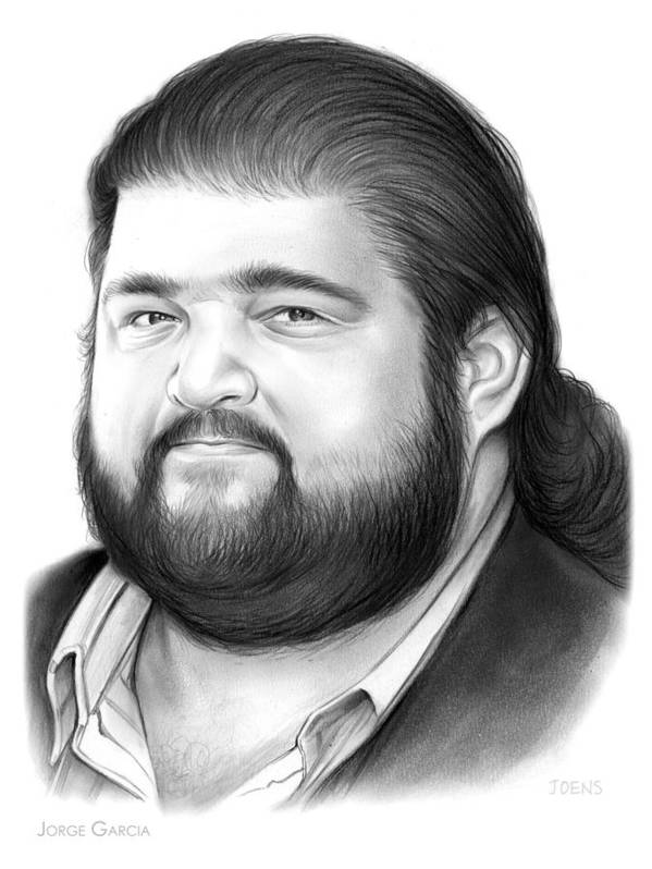 Jorge Garcia Poster featuring the drawing Jorge Garcia by Greg Joens