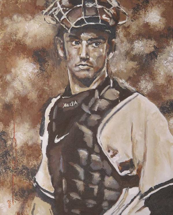 Jorge Rafael Posada Villeta (born August 17 Poster featuring the painting Jorge Posada New York Yankees by Eric Dee