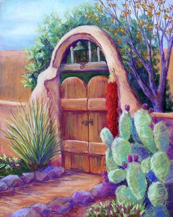 New Mexico Landscapes Poster featuring the pastel Josefina's Gate by Candy Mayer