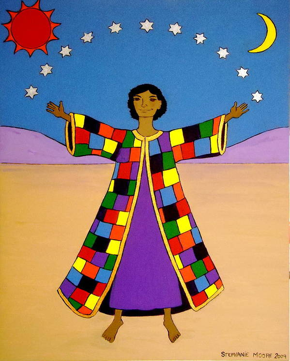 Joseph Poster featuring the painting Joseph And His Coat Of Many Colours by Stephanie Moore
