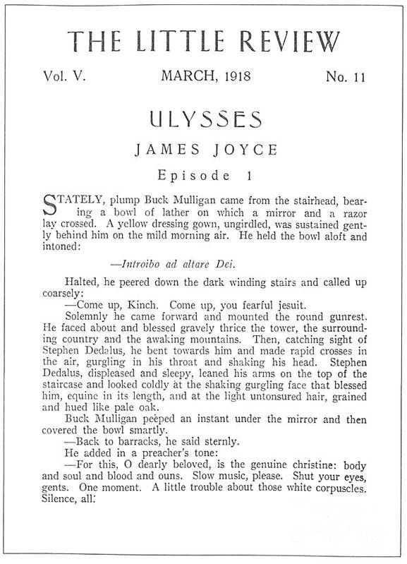 1918 Poster featuring the drawing Ulysses, 1918 by James Joyce