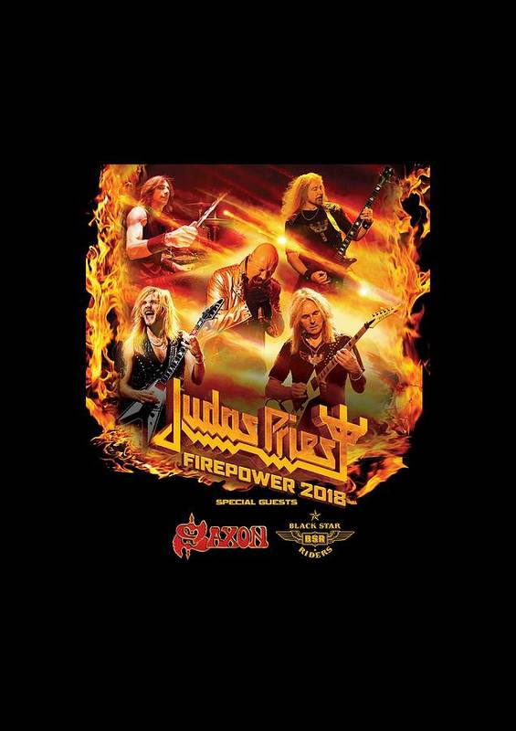 89e0ac5aa20 Judas Priest Poster featuring the digital art Judas Priest Firepower Tour  2018 by Ratnawati