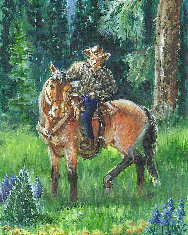 Horse Poster featuring the painting Juel Riding Chiggy-bump by Dawn Senior-Trask