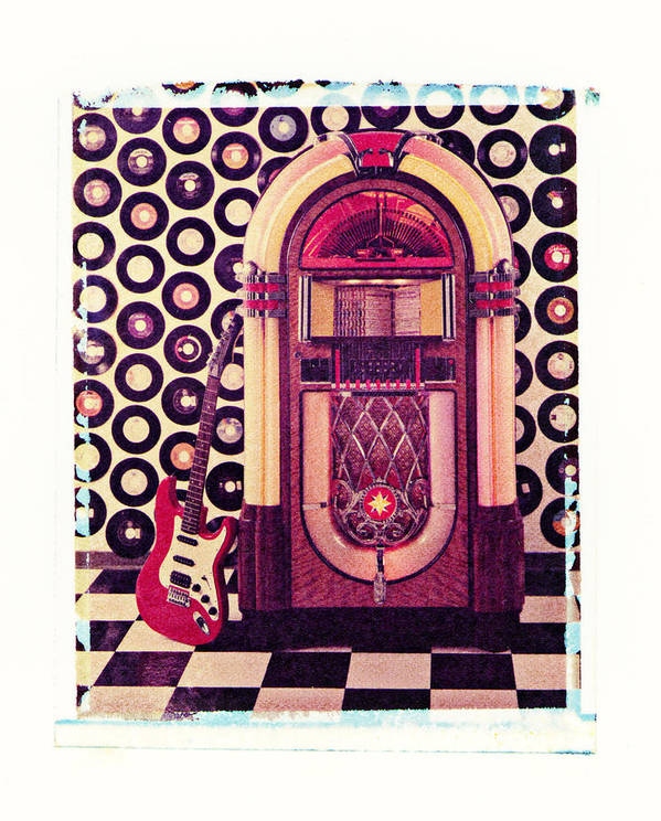 Jukebox Electric Guitar Music Rock N Roll Sound Machine Records Poster featuring the photograph Juke Box Polaroid Transfer by Garry Gay