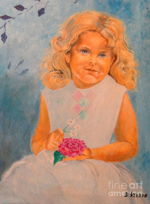 Portrait Poster featuring the painting July - 50x69 Cm by Dagmar Helbig