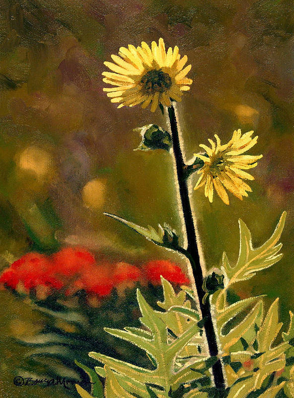 Prairie Flowers Poster featuring the painting July Afternoon-compass Plant by Bruce Morrison