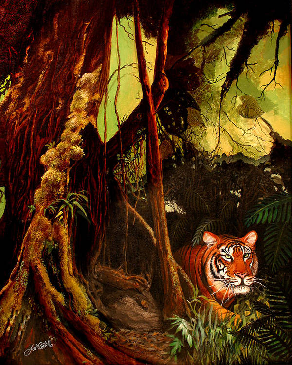 Jungle Poster featuring the painting Jungle Cat by Joe Costello