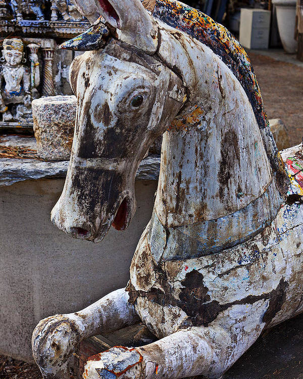 Old Poster featuring the photograph Junkyard Horse by Garry Gay