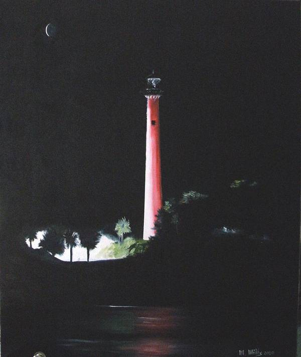 Lighthouse Poster featuring the painting Jupiter Lighthouse At Night by Maria Mills