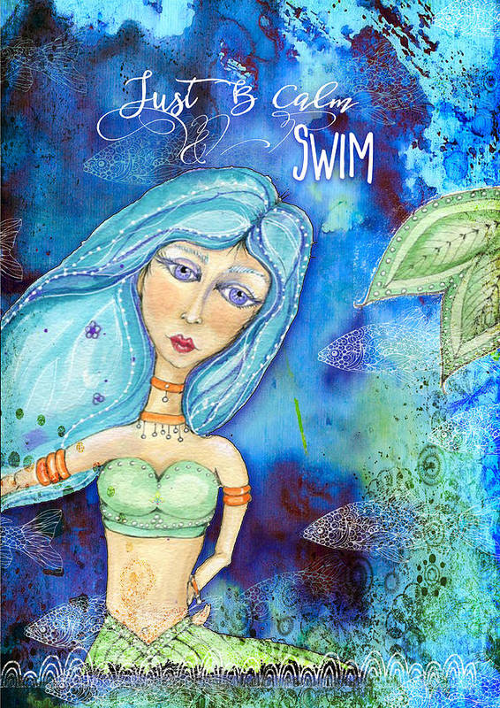 Water Poster featuring the painting Just B Calm Swim by Lindsay Flowers