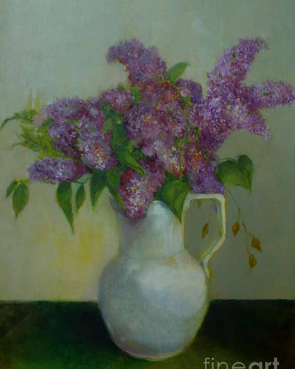 Greeting Card Poster featuring the painting Just Lilacs         Copyrighted by Kathleen Hoekstra