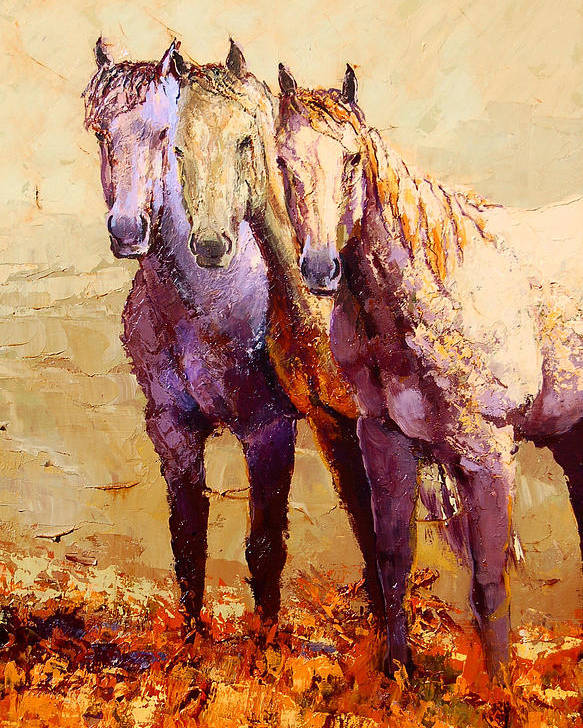 Horses Poster featuring the painting Just Lookin' by Ritch Gaiti