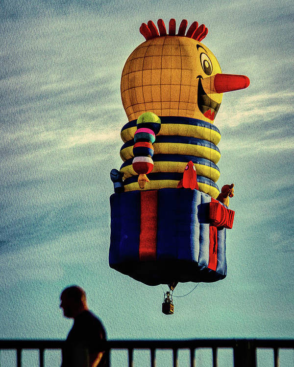 Jack-in-the-box Poster featuring the photograph Just Passing Through Hot Air Balloon by Bob Orsillo