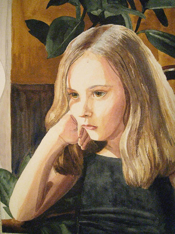 Girl Poster featuring the painting Just Thinking by Shirley Braithwaite Hunt