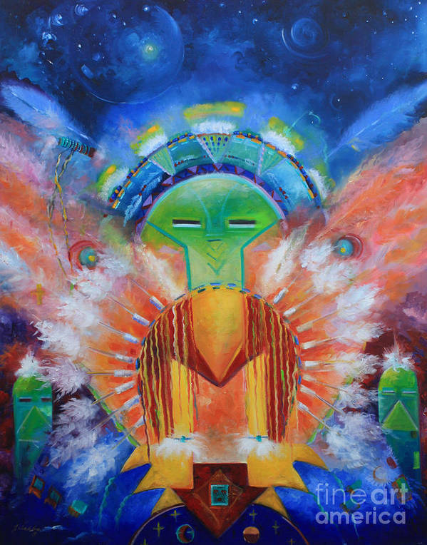 Native American Poster featuring the painting Kachina Spirit by Gail Salitui