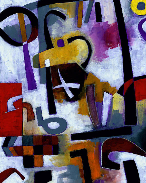 Abstract Poster featuring the painting Kaffeeklatsch by Douglas Simonson