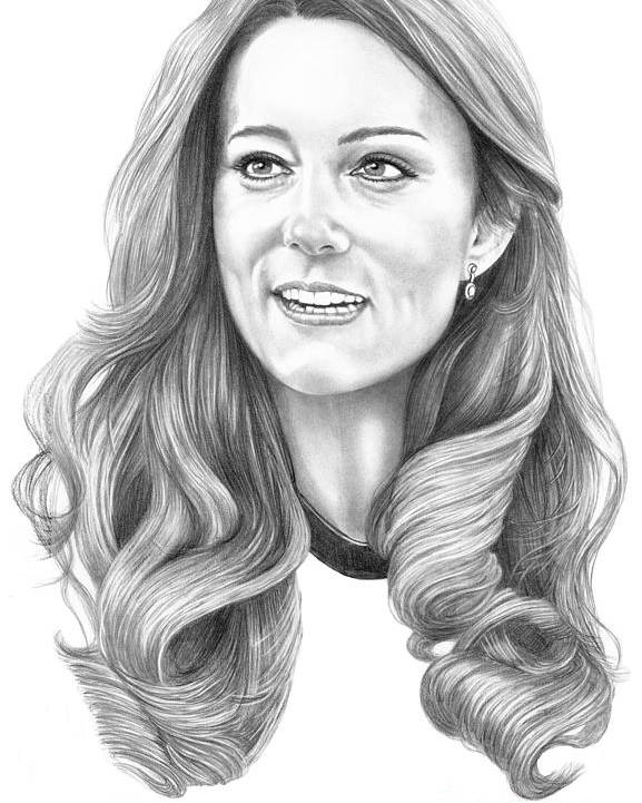 Pencil Poster featuring the drawing Kate Middleton Catherine Duchess Of Cambridge by Murphy Elliott