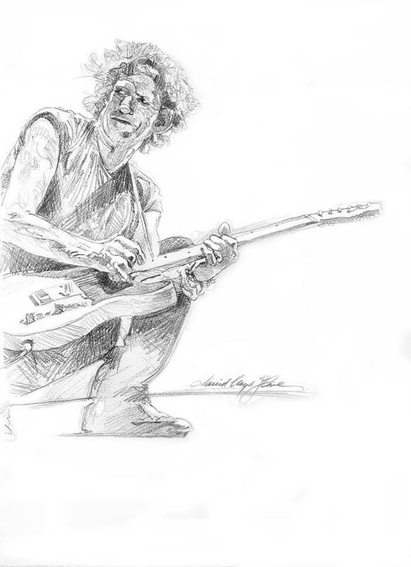 Keith Richards Poster featuring the drawing Keith Richards Fender Telecaster by David Lloyd Glover