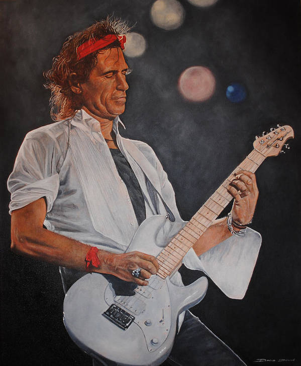 Keith Richards Poster featuring the painting Keith Richards Live by David Dunne