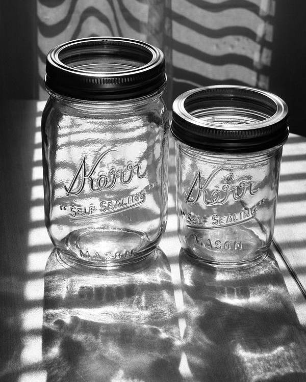Glass Poster featuring the photograph Kerr Jars by Steve Augustin