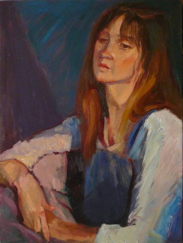 Pensive Girl Poster featuring the painting sold Kerri by Irena Jablonski