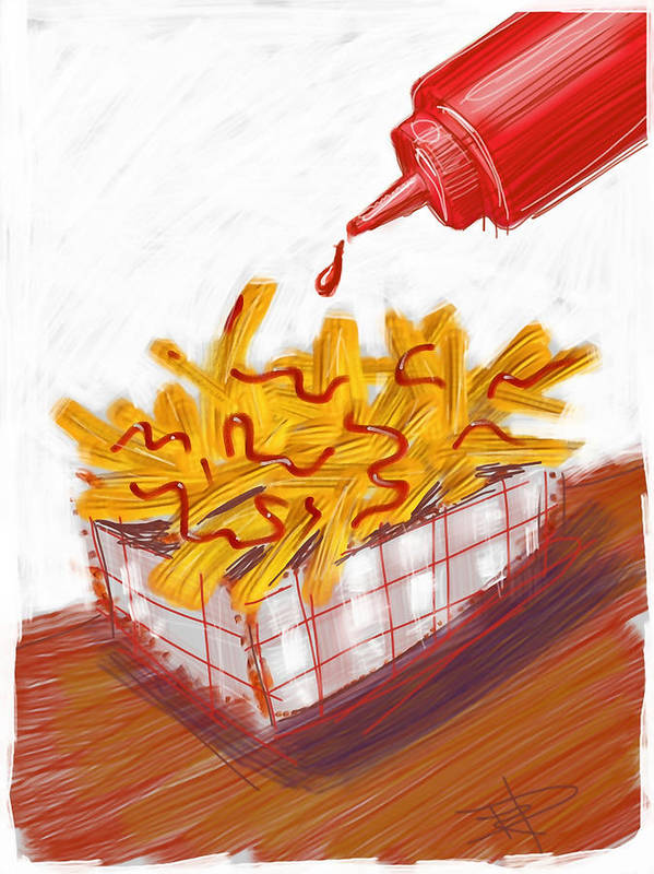 French Fries Poster featuring the digital art Ketchup And Fries by Russell Pierce