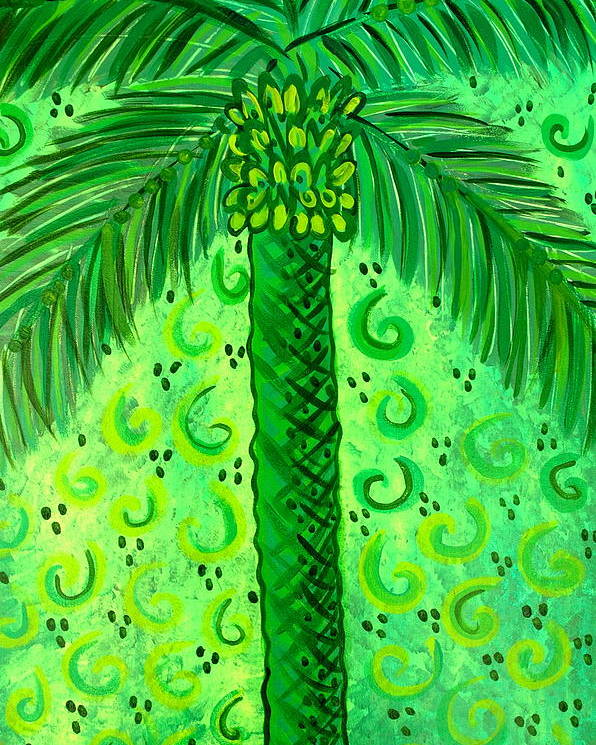Palm Trees Poster featuring the painting Key Lime Palm by Helen Gerro