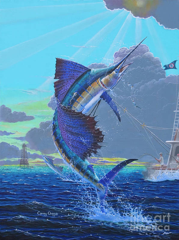 Sailfish Poster featuring the painting Key Sail Off0040 by Carey Chen